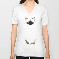 indonesia V-neck T-shirts featuring Angora Siamese Cat - Chat Siamois Angora by Priscilla Moore