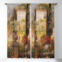 Amalfi Coast Campania, Italy Garden Terrace Vineyard and Flowers landscape seaside painting Blackout Curtain