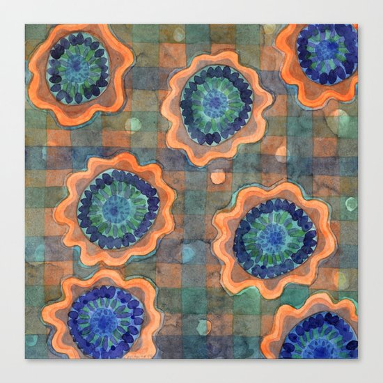 Glowing Fancy Flowers on Checks Canvas Print