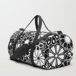 Mid Century Hawaiian Flower Print - Black and White Duffle Bag