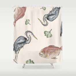 Heron and Fish Shower Curtain