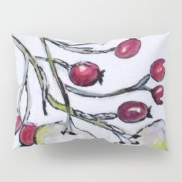 Winter Rose Hips Pillow Sham