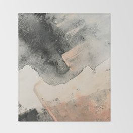 Peace and Quiet [2]: a pretty, minimal abstract piece in gray and peach by Alyssa Hamilton Art Throw Blanket