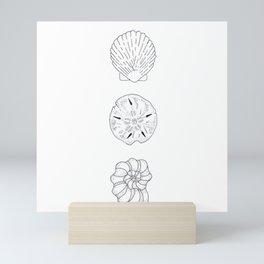 Seashells Trio Illustration — Shells and Sand Dollar Design Mini Art Print