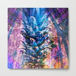 Stand Tall, Blue Pineapple Metal Print