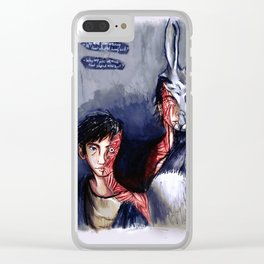 Why are you wearing that stupid man suit? Clear iPhone Case