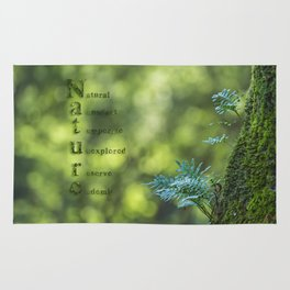 Tree trunk with nature words Rug