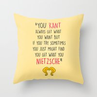nietzsche Throw Pillows featuring Hedwig, Kant & Nietzsche by byebyesally