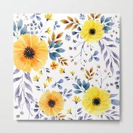 Yellow watercolor flowers Metal Print