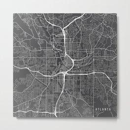 Atlanta Map, USA - Gray Metal Print
