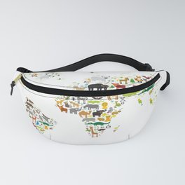 Cartoon animal world map for children and kids, Animals from all over the world on white background Fanny Pack