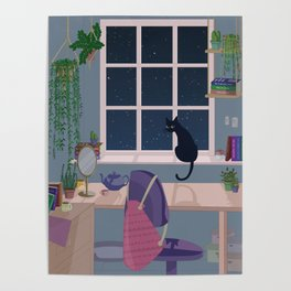Cat & plant hoarder room Poster