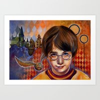 quidditch Art Prints featuring Harry's First Quidditch Match by S.G. DeCarlo