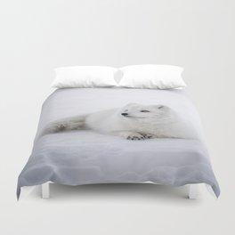 White snow arctic fox Duvet Cover