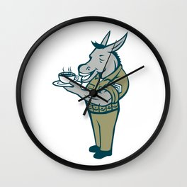 Donkey Sergeant Army Standing Drinking Coffee Cartoon Wall Clock