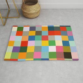 Haumea - Abstract Colorful Pixel Patchwork Art Rug