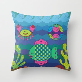 Stylize fantasy fishes under water. Throw Pillow