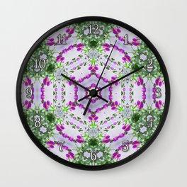 Purple Wildflower Kaleidoscope Art 1 Wall Clock