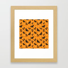 Happy halloween bats and witch hats pattern Framed Art Print