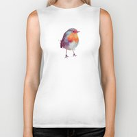 artist Biker Tanks featuring Winter Robin by Amy Hamilton
