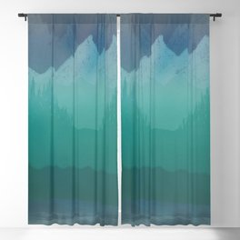 Ombre Mountainscape (Blue, Aqua) Blackout Curtain