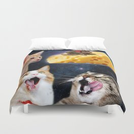 Cats and the mouse on the cheese Duvet Cover