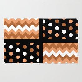 Black/Two-Tone Burnt Orange/White Chevron/Polkadot Rug