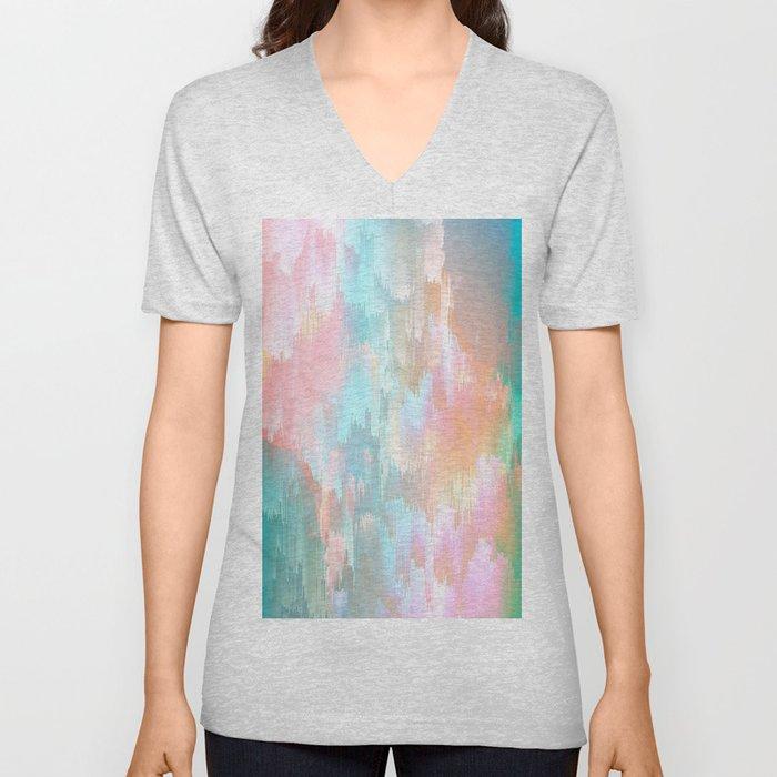 Candy Rainbow Glitch Fall #abstractart Unisex V-Neck