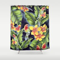 tiki Shower Curtains featuring Tiki Talk by Vikki Salmela