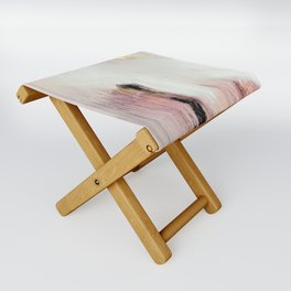 Sunrise [2]: a bright, colorful abstract piece in pink, gold, black,and white Folding Stool