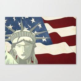 Statue of Liberty American Flag Canvas Print