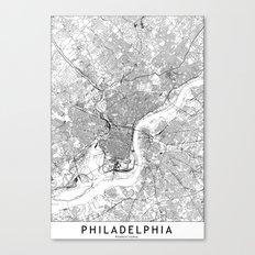 Philadelphia White Map Canvas Print