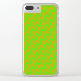 Pattern of orange squares and green triangles in a zigzag. Clear iPhone Case