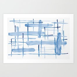 Abstract Lines Blue and White 06 Art Print