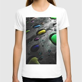 Abstract Art - Colored Drops of Rain on black background T-shirt