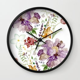Rural Floral Pattern Spaced Out Wall Clock