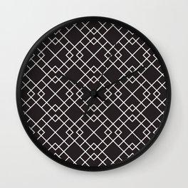 Lattice in Black and White Wall Clock
