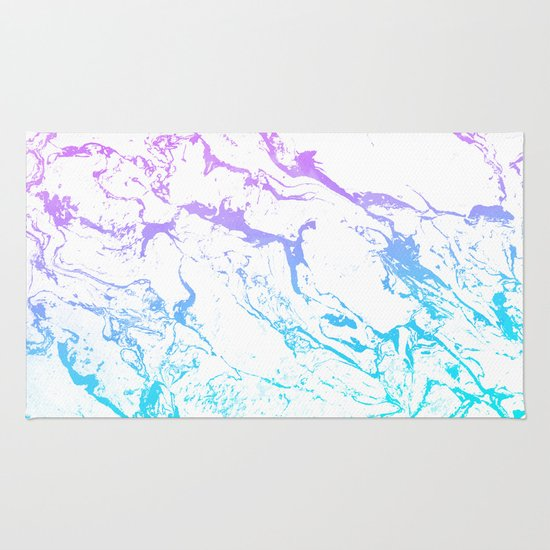 Purple Turquoise Rag Rug: White Marble Purple Blue Turquoise Ombre Watercolor
