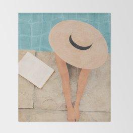 On the edge of the Pool II Throw Blanket