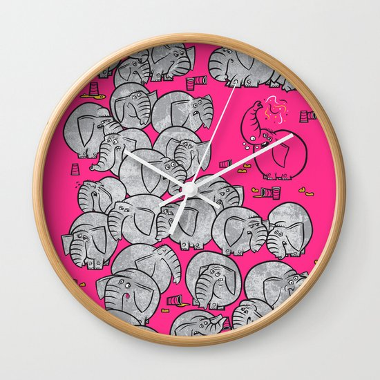 Elephants Never Forget to Party - PINK Wall Clock