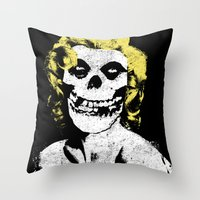 misfits Throw Pillows featuring Misfits Monroe by AtomicChild