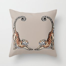 Beige Twin Tigers Stretching (Ink artwork) Throw Pillow