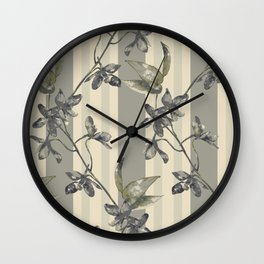 Flowers and Stripes One Wall Clock