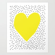 Yellow heart with grey dots around Art Print