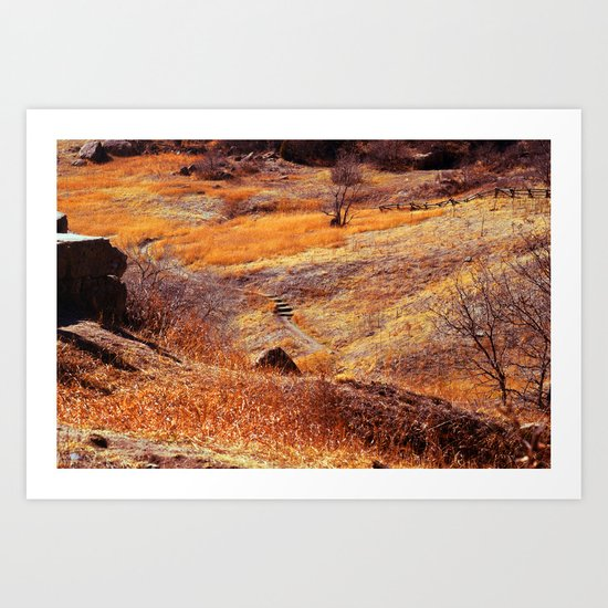 Valley in orange Art Print