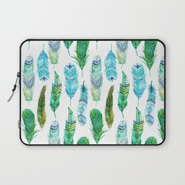 Watercolor Teal and Green Feathers Laptop Sleeve