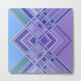 Purple Blue Aqua Multi Pattern Design Metal Print