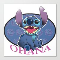 ohana Canvas Prints featuring Ohana by Une Belle Pagaille