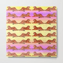 Wild elegant resting regal tigers distressed bright sunny pastel yellow and pink animal design. Metal Print