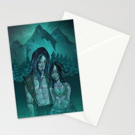 Illustration digital art native hippie couple on mountain with blue feeling Stationery Cards